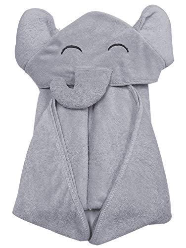 YOYOO Premium Bamboo Baby Bath Towel – Ultra Soft Organic Hypoallergenic Baby Hooded Towels for Babies - Newborn Essential Cute Grey Little Elephant -Perfect Baby Registry Gifts for Boy Girl
