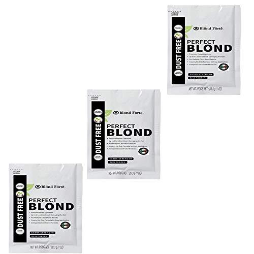 Perfect Blonde Toner Hair Dye Bleach Powder Lightener for Dark Hair Extra Strength Professional Formula (3 Packs of 1 Oz) – Made in Italy by Blond Forte (White Powder Lightener)