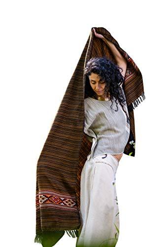 AJJAYA JHANA Meditación Oración Mantón Manta Acogedor Bronce y negro Cachemira Lana Yak Tibetano Lahsa Invierno Tribal Celta Bordado Boho Zen
