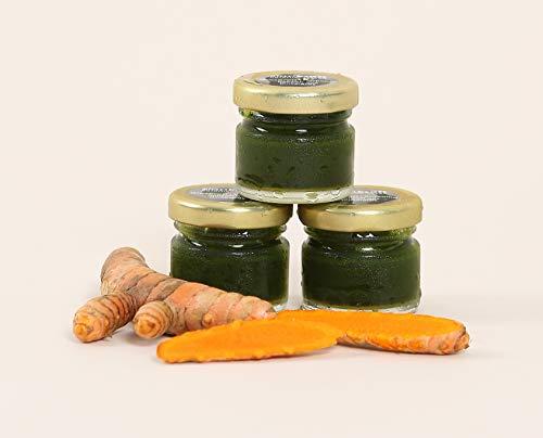 STARTKRAFT ☀ 100% Rohsaft aus Bio Dinkelgras und frischem Kurkuma. ✔Bio ✔Vegan ✔Glutenfrei ✔Rohkost - Monatspackung: 30 Stück á 28 ml - für eine optimale Versorgung mit essentiellen Mikronährstoffen.