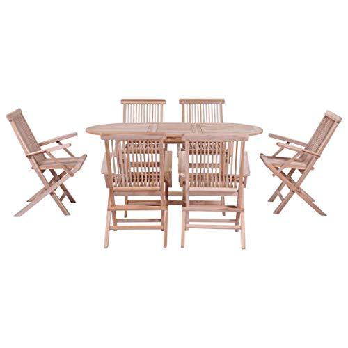 Tidyard 7-TLG. Garten-Essgruppe Klappbar Massivholz Teak Teak Garden Furniture 7-Piece Set Folding Garden Furniture Set