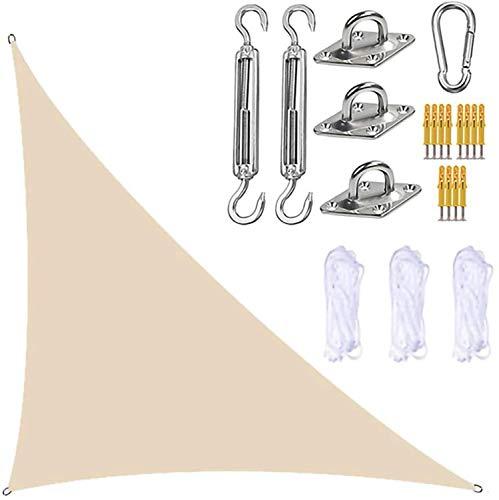TBNOONE Parasol Triangular para Velas de jardín con Kit de fijación, toldo para Velas de jardín, 3 Cuerdas, Bloque UV e Impermeable, toldos para sombrillas de jardín para Patios(3m x 3m x 4.3m,Beige)
