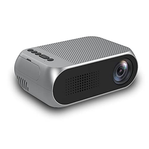 Outdoor Cover Mini proyector, proyector portátil de 1080p HD para el Cine en casa o película al Aire Libre, para teléfono Inteligente, Tableta, computadora portátil, DVD,Plata