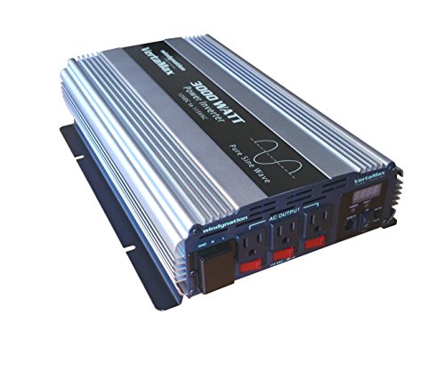 VertaMax Pure SINE Wave 3000 Watt (6000W Surge) 12V Power Inverter DC to 115 AC Car, Solar, Off-Grid, RV, Back Up Power
