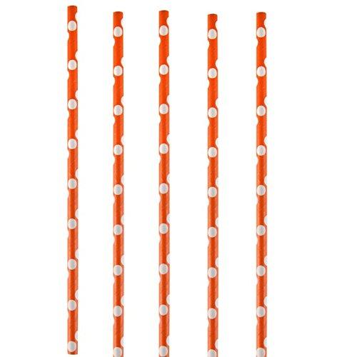 Chal - Paille orange à pois blanc x20