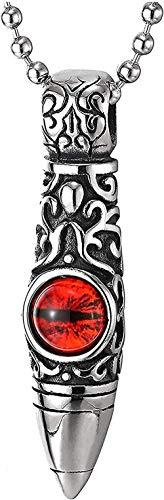 huangxuanchen co.,ltd Hombres Mujeres Acero Vintage Tribal Gráfico Tatuaje Bala Colgante Collar Rojo Estilo Retro