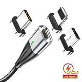 マグネット 充電ケーブル 3in1ケーブル 3A急速充電 データ転送 月形のLEDランプ付き タイプC マイクロUSB アイフォン各種スマホ/タブレット対応(1m)