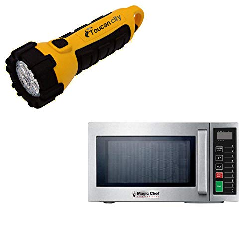 Toucan City LED Flashlight and Magic Chef 0.9 cu. ft. Commercial Countertop Microwave in Stainless Steel MCCM910ST