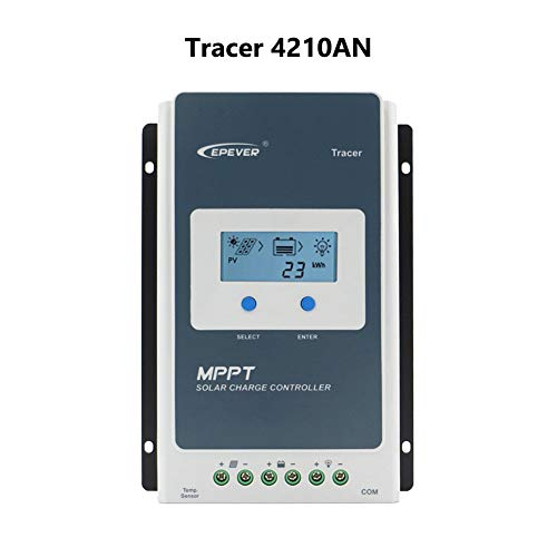 EPEVER 40A MPPT Solar Charge Controller 12/24VDC Automatically Identifying System Voltage with Backlight LCD Display Fit for Lead-Acid and Lithium Batteries