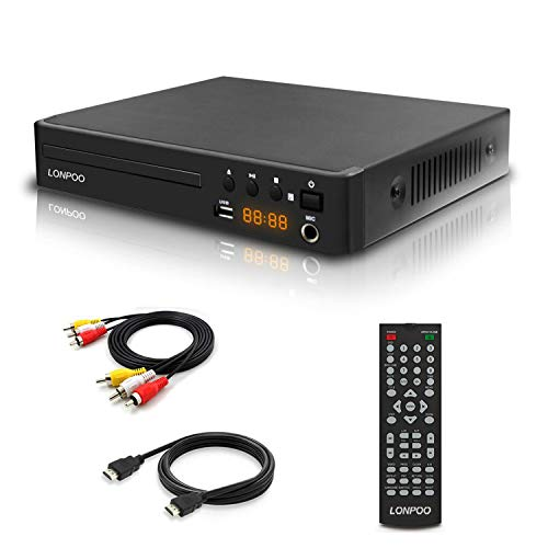 Region Free DVD Player, LONPOO Compact DVD CD Player for TV with 1080P Upscaling, HDMI & AV Output (Cables Included), USB 2.0, Microphone Output