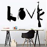 Black Love Weapon vinilo sala de estar decoración del hogar papel pintado impermeable pegatina de pared A2 L 43x48cm