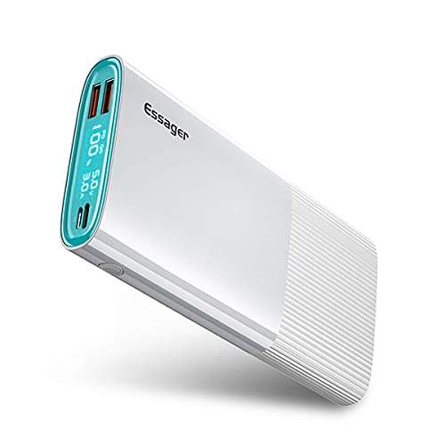 ESSAGER Power Bank, 20000mAh 18W PD USB C Power Bank QC 3.0 External Battery Pack with 3 Outputs and LED Display, for iPhone 11 Pro iPad Airpods Samsung Galaxy S10 Huawei Tablet etc. (white)