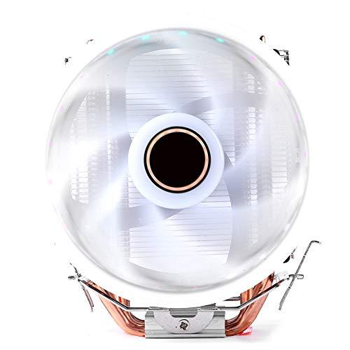 Fransande - Radiador de CPU de 4 caloducs torre única de tres pines con ventilador de refrigeración de lámpara, ventilador de CPU y silenciador para