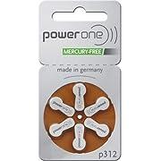 Power One Size 312 Zinc Air Hearing Aid Batteries No Mercury (42 batteries)