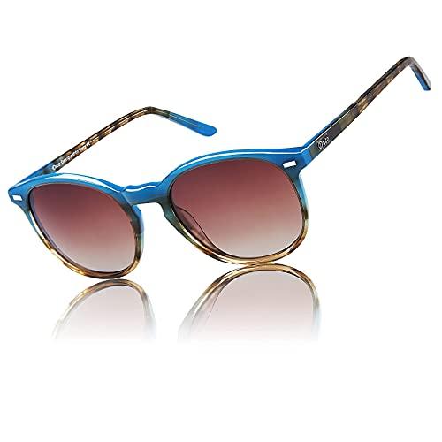 Duco Polarized Sunglasses for Women Vintage Retro Cat Eye Round Frame Oversize Spectacles Classic Fashion Stylish DC1230 (Blue Tortoise)