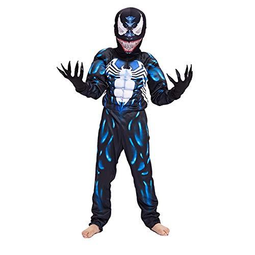 LINLIN Superhroe Venom Disfraz de Msculo Nios Performance Tight Unisex Girl Boy Fancy Dress Jumpsuit Halloween Onesies,Blue-Kid S 110~120cm