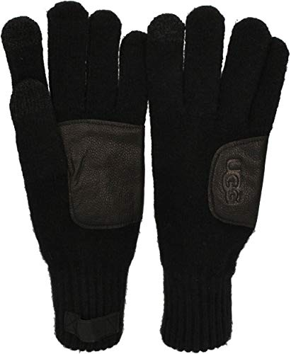 UGG - Herren Handschuhe KNIT GLOVE LEATHER PATCH black