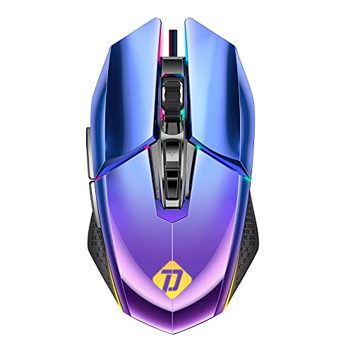 PeohZarr Wired Gaming Mouse, PC Gaming Mice with 10000 DPI, Wired Computer Gaming Mice with 7 Programmable Buttons for PC, Mac, Laptop, Blue Purple Gradient, Lightsync RGB