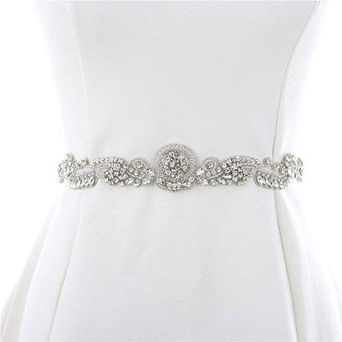 Sparkly Rhinestone Beaded Wedding Dress Applique Sparkly for Bridal Ribbon Belt Iron on Crystal Thin Jeweled Sash Applique for Bridesmaid Gown