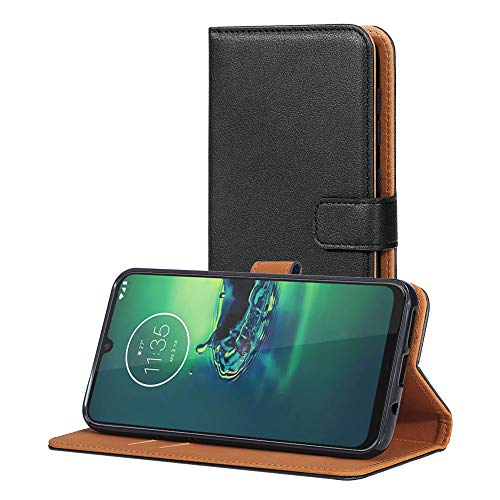 AICEK Hülle Kompatibel mit Moto G8 Plus, Lederhülle für Motorola Moto G8 Plus Schutzhülle PU Leder Klapphülle mit Kartenfach Ständer Magnet Funktion Schwarz (6,3 Zoll)