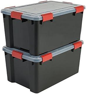 Iris Ohyama, Lot de 2 Boîtes de Rangement / Malles de Rangement Hermétiques - Air Tight Box - AT-L, Plastique, Noir, 50 L,...