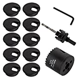 10 PCS 2 inch Desk Wire Cord Cable Grommets Hole Cover with Hole Saw Kit High Speed Bi-Metal Holesaw Drill Bits for Office PC Desk Cable Cord Organizer