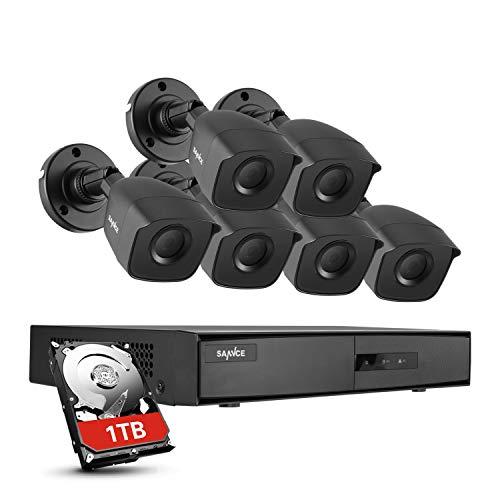 SANNCE Kit Sistema de vigilancia 8CH DVR 1080N 5-en-1 con 6 Cámaras de Seguridad 1080P IP66 Impermeable IR-Cut Leds Acceso remoto-1TB HDD Incluido