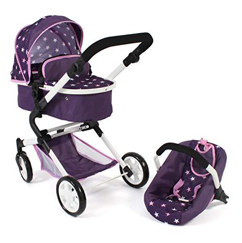 Bayer Chic 2000 597 71 3-in1 Kombi Lia, Puppenwagen-Set mit Autositz, Babywanne und Sportsitz, Stars lila