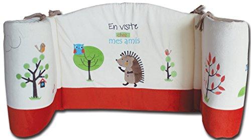 Les Chatounets Tour de Lit Motif Hérisson Ecru-Rouille 40 x 180 cm