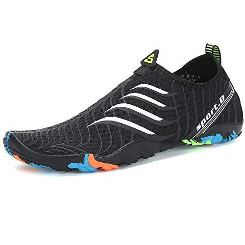 SAGUARO Escarpines Hombre Mujer Agua Calzado Playa Zapatillas para Deportes Acuáticos Buceo Snorkel Surf Natación Piscina Vela Mares Rocas Río Zapatos, Blanco 43