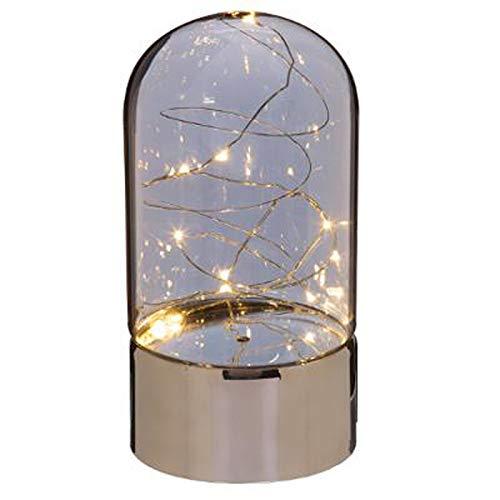 Paris Prix Atmosphera Créateur d'intérieur - Lampe Dome à Poser en Verre Guirlande 20cm Gris