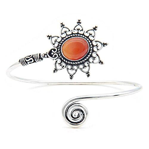 mantraroma Armreif Armband versilbert silbern Karneol orange rot (922-05-024-16)