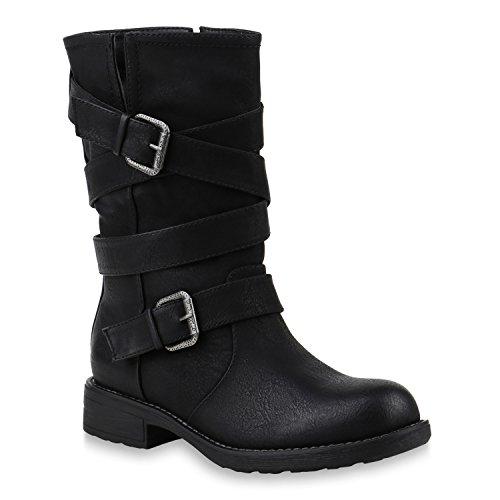 Damen Stiefel Bikerstiefel Schnallen Profilsohle Schuhe 145334 Schwarz 37 Flandell