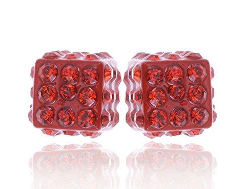 Alilang Dice Cube Box Form Feuer Motor synthetische Siam rot heiß flammenden Kristall Strasssteine Ohrringe