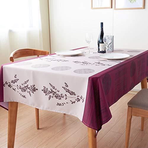 Liveinu Nappe Rectangulaire Tissu de Table Lavable Entretien Facile Résistant Imperméable Anti-tâche Nappe de Table pour Picnic Cuisine Jardin Terrasse Balcon Modèle Vintage Rouge 90x145cm