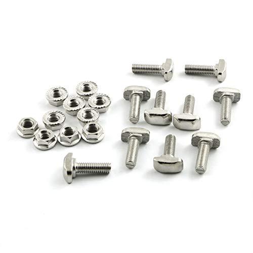 PZRT 10pcs M6 x 20mm Hammer Head Bolt T Screw,10pcs M6 Hexagon Flange Nuts Set, Carbon Steel Nickel Plated for 3030 Series Standard 8mm T-Slot Aluminum Profile