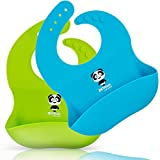 Panda Silicone Baby Bibs Waterproof Baby Bib for Girls and Boys Easily Wipe Clean with Food Catcher Pocket Set of 2 Colors