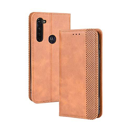 LAGUI Kompatible für Motorola Moto G Pro Hülle, Leder Flip Hülle Schutzhülle für Handy mit Kartenfach Stand & Magnet Funktion als Brieftasche, braun