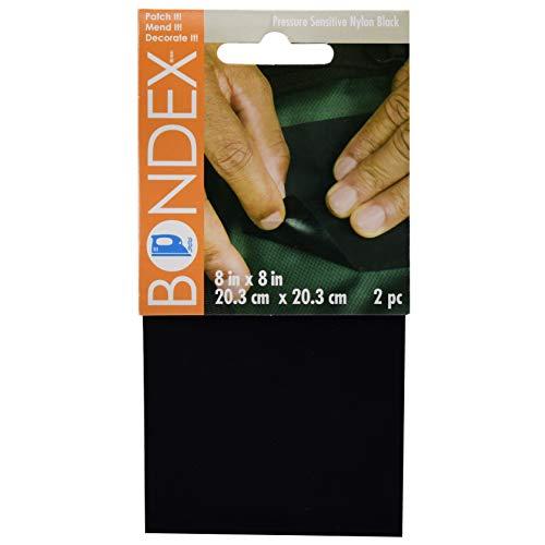 "Bondex 8""x8"" Pressure Sensitive Patch Black Nylon, 2 Piece Pack"