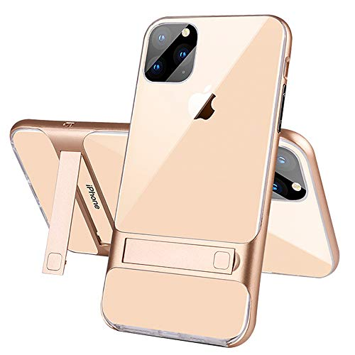Qcasenice 11Pro Phone Case Compatible with Apple iPhone 11 Pro 2019 Cover I Ipnone Iphone11 Pro Ihone11 Luxury iPhones IP Iph Kickstand Funda Conque Slim 5.8 Inch (Gold)