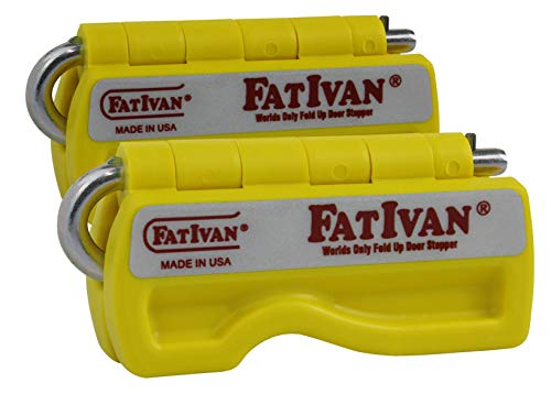 The Original Fat Ivan Fold Up Doorstop Wedge with Magnet - Yellow (2 Pack)
