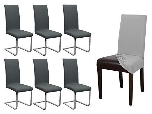 BEAUTEX 6er Set Jersey Stuhlhusse, elastische Stretch Husse Baumwolle Bi-Elastic, Farbe wählbar (Anthrazit)