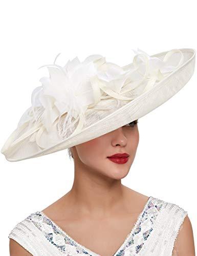 Coucoland Damen Feder Fascinators Hut Elegant Blumen Fascinator Haarreif für Hochzeit Cocktail Englische Tee Party Pferderennen Haar Accessoires Damen Fasching Kostüm Zubehör (Elfenbein)