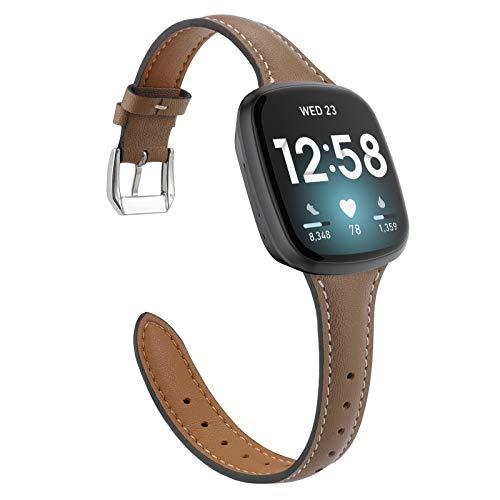 【Amazon限定ブランド】Wearlizer Fitbit Versa3 バンド/Fitbit Senseバンド Fitbit Versa3/Fitbit Senseに対応 Fitbit Versa3本革バンド Fitbit Senseレザーバンド 工具が要らなく、気軽に差し替える (褐色)
