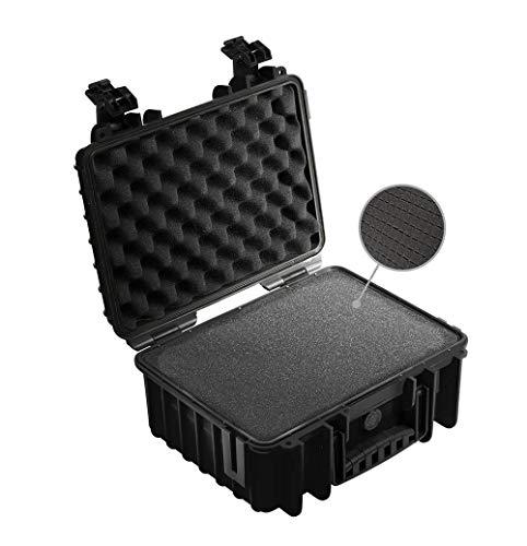 B&W Transportkoffer Outdoor Typ 3000 schwarz mit Würfelschaum - wasserdicht nach IP67 Zertifizierung, staubdicht, bruchsicher und unverwüstlich