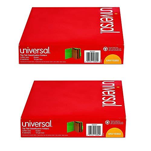 Universal 10302 Pressboard Classification Folders, Letter, Six-Section, Emerald Green (Box of 10), 2 Pack