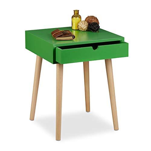 Relaxdays nachtkastje Arvid met lade, nachtkastje, hout, poten natuur, nachtkastje in Scandinavisch design, h x b x d: ca. 50,5 x 40 x 40 cm, groen.