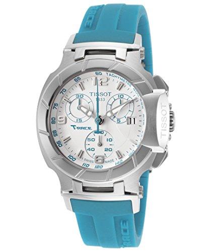 Tissot Damen T-Race Chronograph, weißes Zifferblatt, blaues Gummi