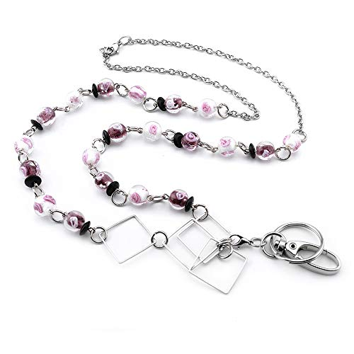LUXIANDA Different Shapes Badge Lanyards ID Necklaces ID Badge Holder Stainless Steel Chain