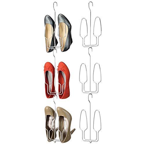 mDesign Juego de 6 organizadores de Zapatos Colgantes – Mueble Zapatero metálico para un par de Zapatos por Percha – Zapatero para Puertas y armarios – Plateado
